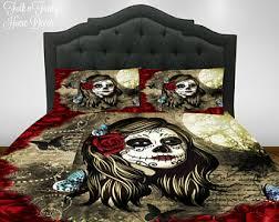 sugar skull comforter set duvet cover red rose la rosa skull