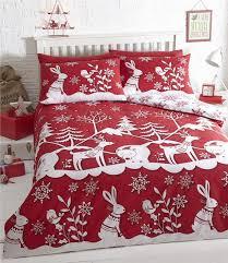 Christmas Duvet Covers Uk Double Duvet Set Red Christmas Bedding Winter Wonderland Quilt