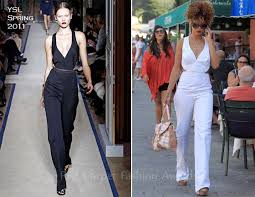 rihanna jumpsuit rihanna in ysl white jumpsuit carpet fashion awards