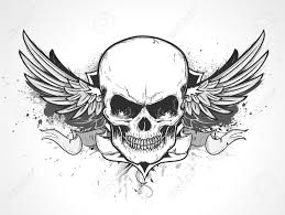 halloween skull transparent background illustration of double winged human skull with banner and grunge