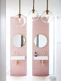 Pink Tile Bathroom A Gorgeous Pink Tiled Bathroom With Gold Hardware