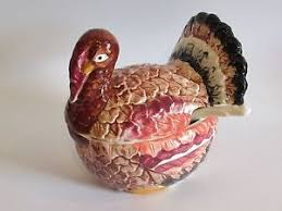 vintage ceramic small thanksgiving turkey soup tureen w ladle