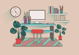 Office Desk Set Up Modern Office Desk Setup Vector Free Vector Stock
