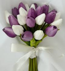 Tulip Bouquets Silk Wedding Bouquet Latex Purple White Tulips Posy Flowers Flower