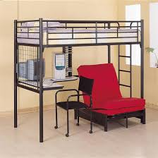 black metal twin sized loft bed with built in desk futon frame