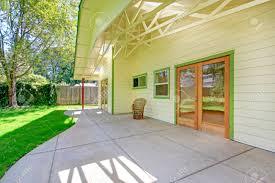 house backyard walkout deck with glass door entrance door stock