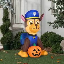 gemmy airblown inflatable 4 u0027 x 2 u0027 paw patrol chase with pumpkin