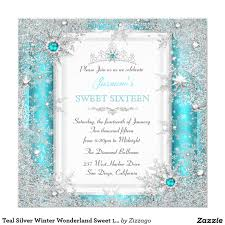 Sweet 16 Birthday Invitation Cards Teal Silver Winter Wonderland Sweet 16 Snowflake Card 15 Anos