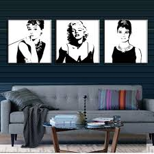 online get cheap marilyn monroe wall frames aliexpress com 3 pcs set vintage poster portrait painting canvas wall art picture marilyn monroe and audrey