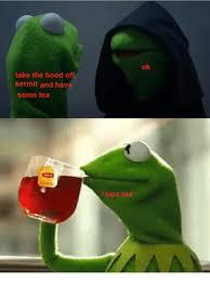 Tea Meme - take the hood o kermit and hav some tea sips tea ok meme on me me