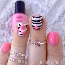 50 pink nail art designs pink nails black polish and leaves