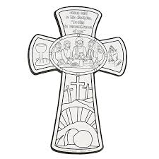 color your own last supper cross cutouts sunday easter