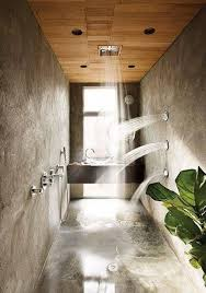 Outdoor Shower Room - bathroom small concrete shower with multiple shower heads and