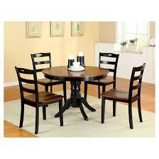 Sun  Pine Pedestal Round Dining Table WoodAntique Oak And Black - Antique oak kitchen table