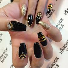 nail designe glamorous black and gold nail designs be modish
