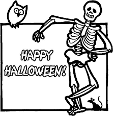 joyful happy halloween skeleton coloring
