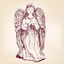 little baby asleep in the wings of an angel hand drawn vector