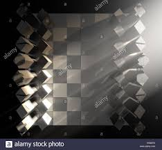 a 3d render of a modern minimalist chess set at the start of a