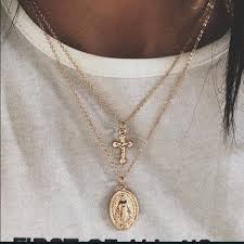 double necklace with cross images Virgin mary cross double layer gold necklace poshmark jpg