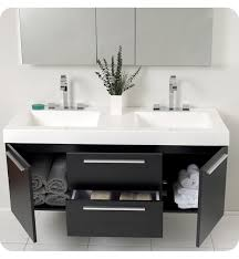 floating black wooden vanity with double rectangle sink combined