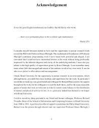 Acknowledgement phd thesis