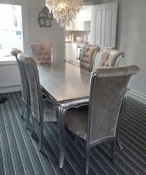 Stunning Silver Dining Table And Chairs 50 In Used Dining Room