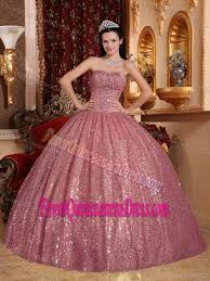 sequin pink ball gown quinceanera dress for a cheap price