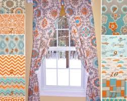 Etsy Drapes Curtain Orange And White Drapes Transitional Den Library Office