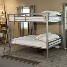gray metal full over queen bunk bed with stairs jpg