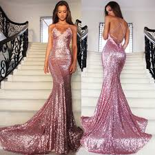 formal gowns pink mermaid sequins party dresses spaghetti