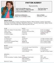 resume original speed in music theatrical resume format