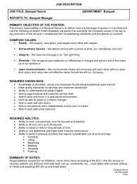Resume Templates For Servers Server Job Description Banquet Bartender Job Description Sample