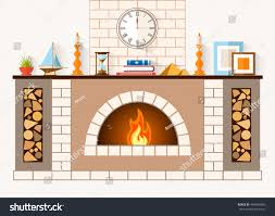 design fireplace room large brick fireplace stock vector 494699956