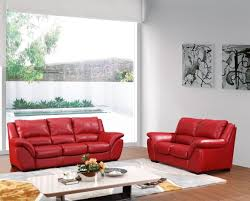 How To Decorate A Living Room With Red Leather Furniture Modern Red Italian Leather Sofa Set