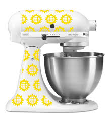 Kitchen Aid Colors by Sunflower Pattern Vinyl Decal For Kitchenaid Mixer 4 Quart And