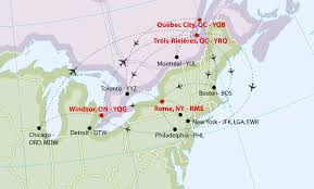 Map Of Canada And New York by Premier Aviation Overview