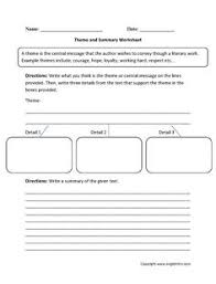 identifying and evidence theme worksheet englishlinx com board
