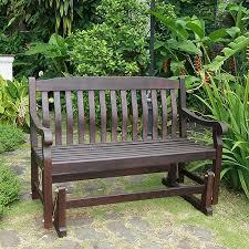 buy delahey outdoor porch glider bench dark brown seats 2 in cheap