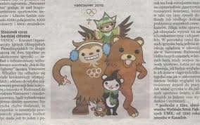 Polish newspaper claims      Pedobear      is      Vancouver Olympic     The incorrect mascot is on the far right