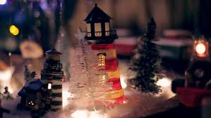 miniature christmas tree lights miniature train under xmas tree at night with christmas lights stock
