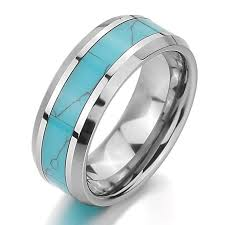 Turquoise Wedding Rings by Amazon Com Inblue Men Women U0027s Tungsten Ring Band Simulated