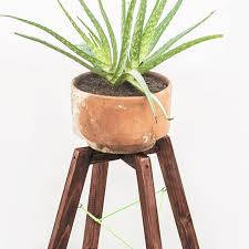 small modern wood plant stand minimal handmade planter stand