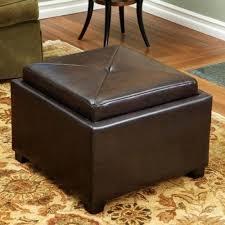 ottoman black leather storage ottoman with 4 trays