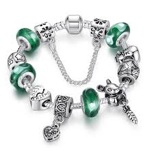 best pandora bracelet images Wholesale silver green bead animal best friend charm bracelet with jpg