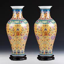Chinese Vases History Luxury Jingdezhen Antique Longevity Porcelain Enamel Floor Vase