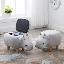 Hippo Ottoman Solid Wood Footstool Creative Hippo Change Shoes Stool Sofa Stool