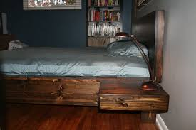 Bed With Attached Nightstands Diy Platform Bed With Floating Nightstands 9 Steps With Pictures
