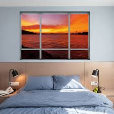 sea sunset window removable 3d wall art sticker dark auburn cm sea sunset window removable 3d wall art sticker dark auburn 48 5 68cm