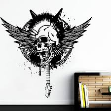 Bedroom Wall Graphic Design Ik968 Wall Decal Sticker Skull Wings Bass Guitar Rock Punk Heavy