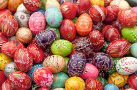 painted wooden easter eggs stack of various painted wooden easter eggs stock photo picture
